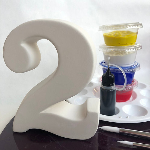 Paint your own ceramic Number. Number Two 2