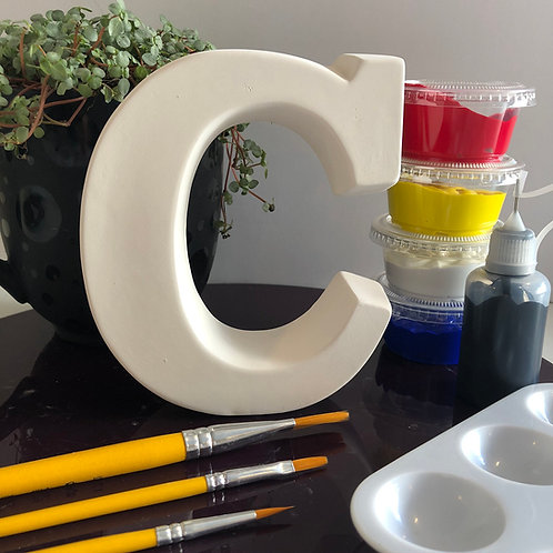 Paint your own Alphabet letter ceramic. Letter 'C'