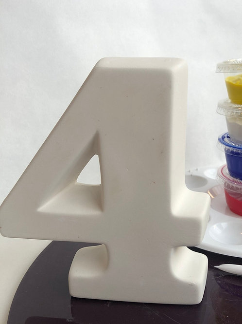 Paint your own ceramic Number kit. Number Four 4