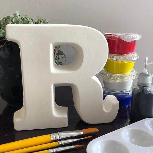 Paint your own Alphabet ceramic letter  Letter 'R'