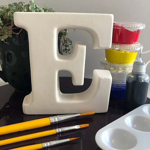 Paint your own  ceramic Alphabet letter . Letter 'E'