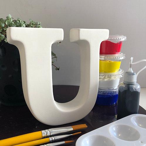 Paint your own  ceramic Alphabet letter. Letter 'U'