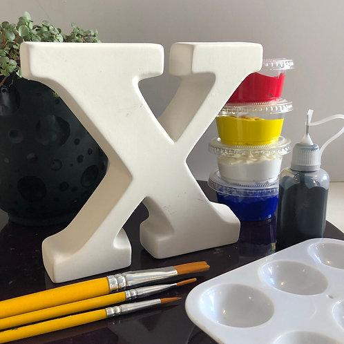 Paint your own  ceramic Alphabet letter . Letter 'X'