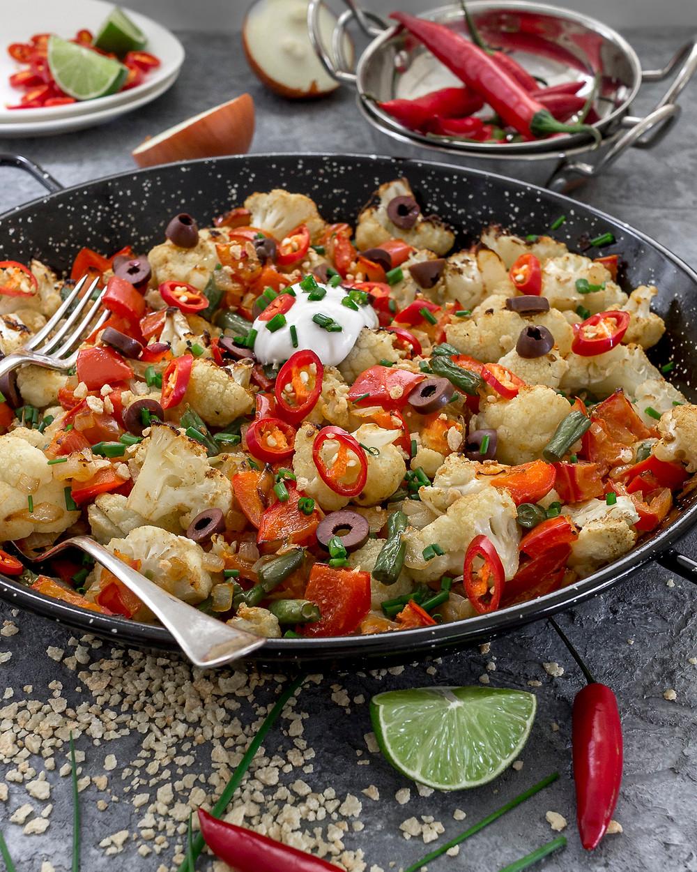 Cauliflower Paella Casserole