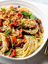 Spaghetti Pesto with Roasted Vegetables