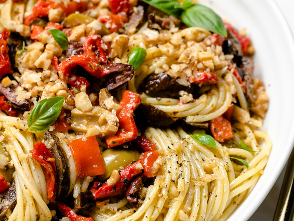 Spaghetti Pesto with Roasted Vegetables