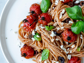 Spaghetti with Blistered Tomatoes Olives and Feta
