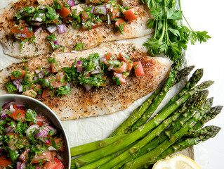 One Pan Roasted Fish with Asparagus and Parsley Salad