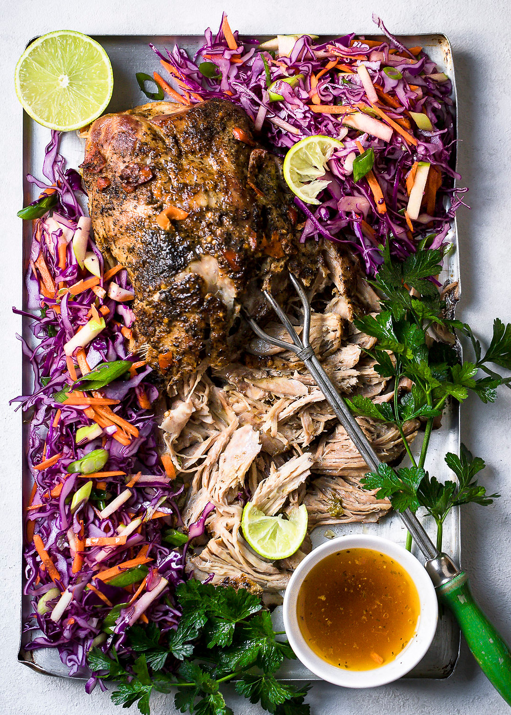 Spiced Pulled Pork with Red Cabbage and Apple Slaw