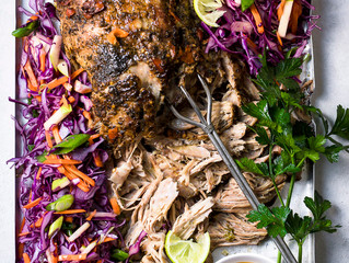 Easy Spiced Pulled Pork with Red Cabbage and Apple Slaw
