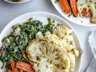 Dairy Free Creamed Spinach with Roasted Vegetables