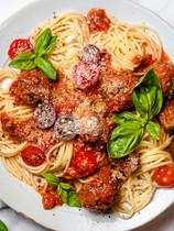 Spaghetti with Cheesy Meatballs
