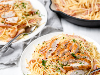 Spaghetti Carbonara with Parmesan Crusted Chicken