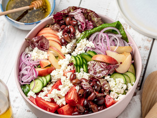 Greek Salad with Radicchio and Peaches