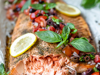 Salmon with Bruschetta Salad