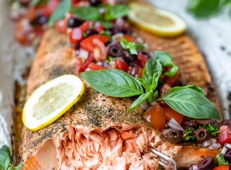 Salmon with Bruschetta Salad