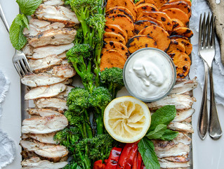 BBQ Chicken Fillets with Chargrilled Vegetables and Lemon Yogurt Dressing