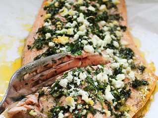 HERB AND FETA CRUSTED SALMON