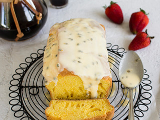 ONE BOWL CUSTARD CAKE WITH PASSIONFRUIT ICING