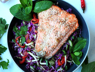 HONEY SOY SALMON WITH ASIAN SALAD