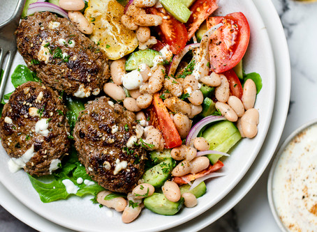 Herb Kofta with Bean Salad and Yogurt Dressing