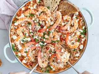 Prawn Saganaki with Spaghetti