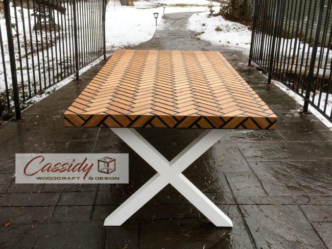 Oak Herringbone-Tile Waterfall Table