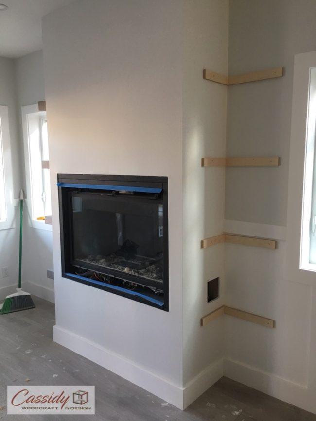 Custom Grey Floating Shelves