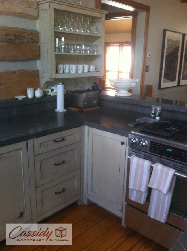 """Distressed"" Green Shaker Cottage Kitchen"