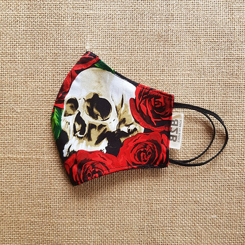 Face Mask Red Roses and Skulls