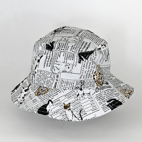 Cat Newsprint Bucket Hat