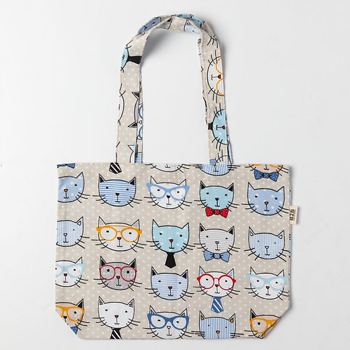 Cartoon Cats Tote Bag for Cat Lovers