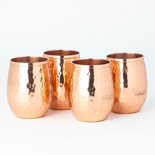 Copper Hammered Stemless Glasses (Set of 4)