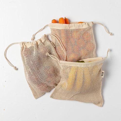 Cotton Mesh Produce Bags (Medium set of 3 )