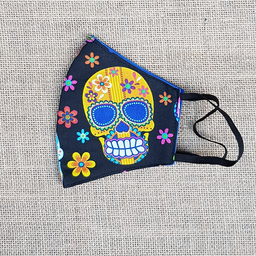 Face Mask Cotton Sugar Skull Neon