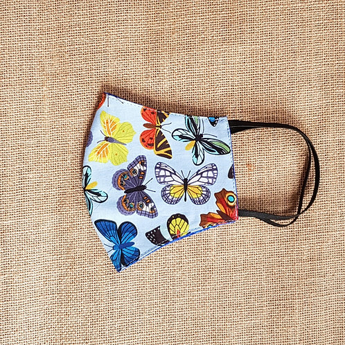 Face Mask Cotton Blue Butterfly Reversible