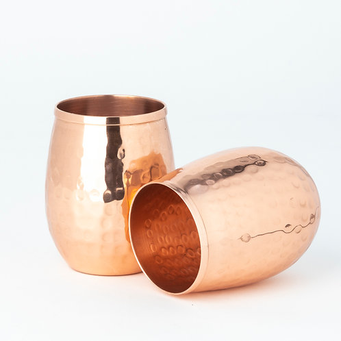 Copper Hammered Stemless Glasses (Set of 2)