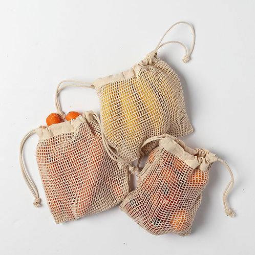 Cotton Mesh Produce Bags (Small Set of 3)