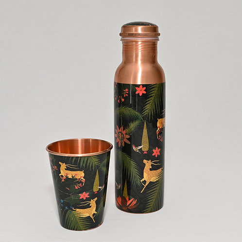 Forest Deer Copper Drink Bottle with Glass