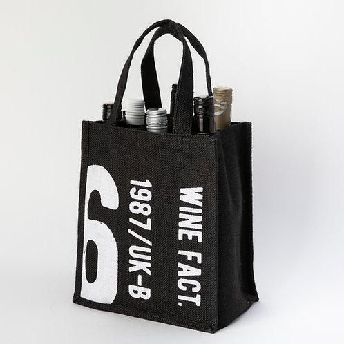 Black Jute 6 Bottle Holder