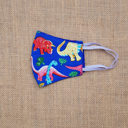 Face Mask Cotton Blue Dinosaurs