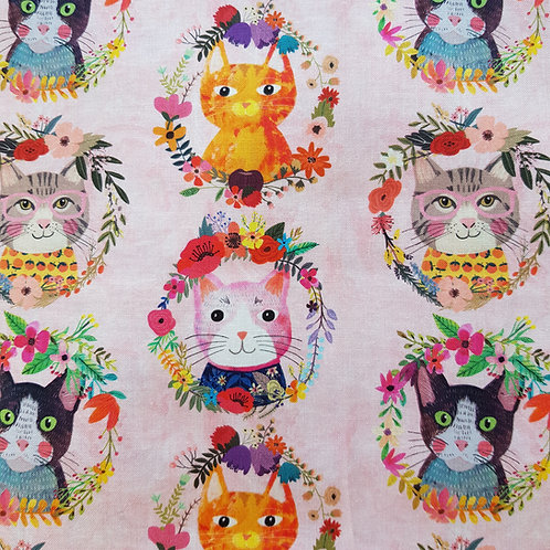 Face Mask Cotton Pink Cat Reversible