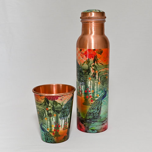 Copper Peacock Drink Bottle with Glass