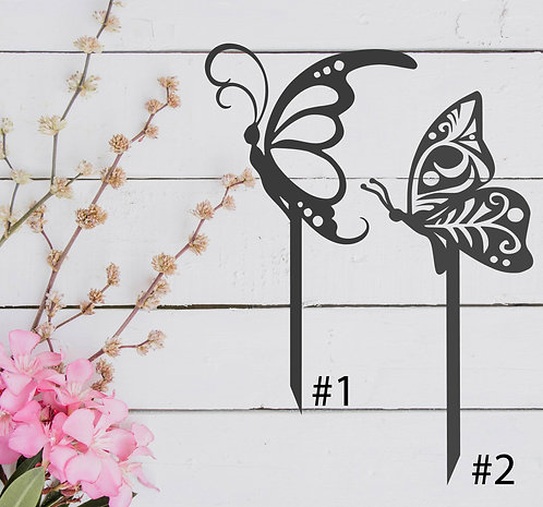 """Butterfly Sideview Garden Stake - 8"""" x 14"""" / 7"""" x 16"""""""