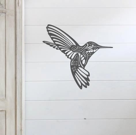 "Floral Hummingbird - 18"" x 18.5"""
