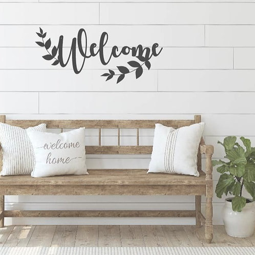 """Welcome with Laurel Leaves - 20"""" x 11"""""""