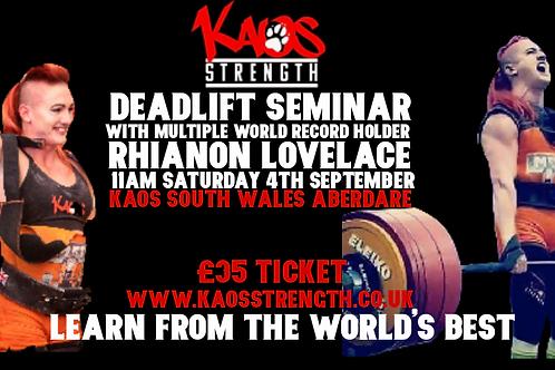 Deadlift Seminar with Rhianon Lovelace at Kaos Cymru