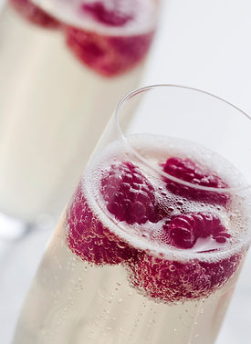 Champagne with Raspberries | Artful Sweets LLC