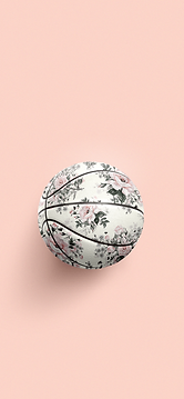Basketball in floral pattern.