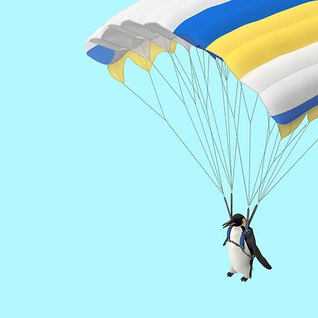 Penguin with a parachute